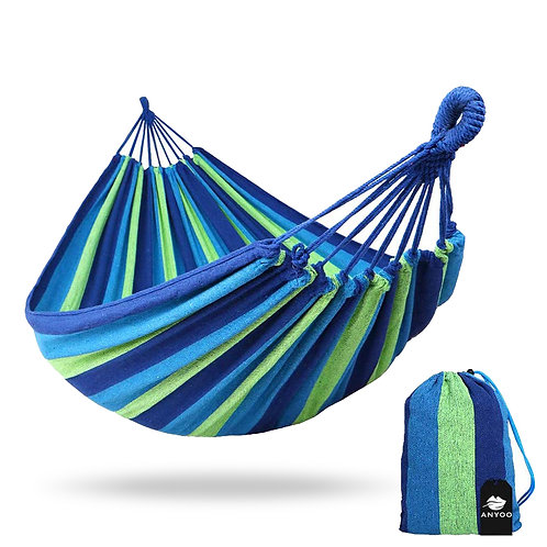 好攜帶柔軟編織單人吊床 藍色