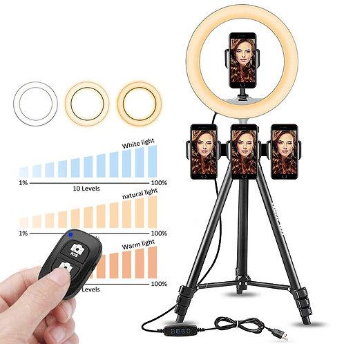 三機位專業直播用手機自拍三腳架(50cm)+10吋補光燈