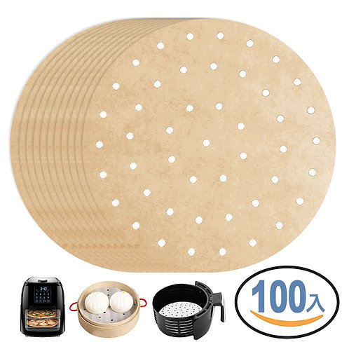 鋼架耐用折木漿無漂白烘焙紙(圓形8吋-20cm) 100張入 氣炸鍋/蒸籠紙疊洗衣籃 2入組 的副本