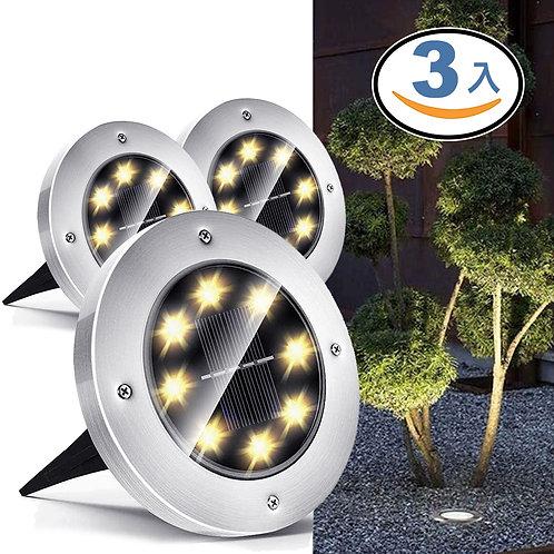 8LED太陽能地埋燈 暖白光 3入組 庭院燈 草坪燈 插地燈