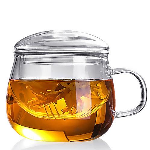 圓頂玻璃泡茶杯 附玻璃濾網 茶壺