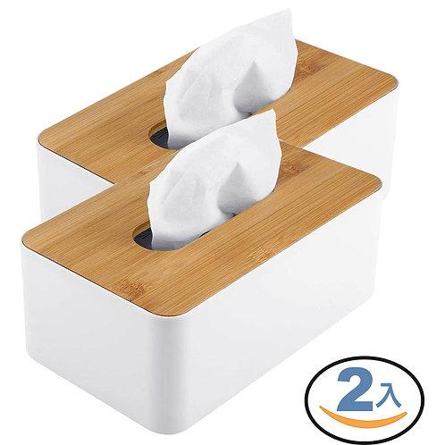 簡約竹木面紙盒 2入組 衛生紙盒