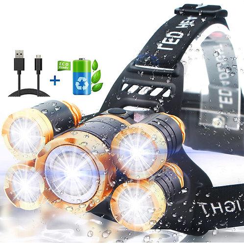 T6極亮五頭防水頭燈 含18650電池+充電器