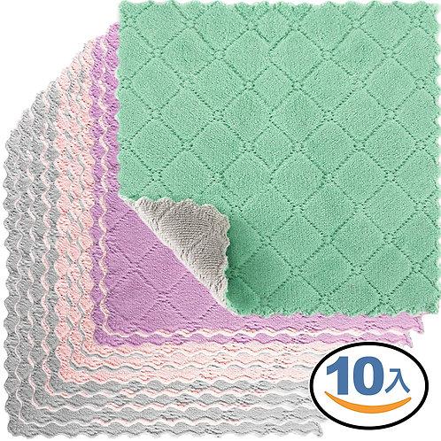 雙面加厚去汙不沾油纖維抹布 10入 顏色隨機 毛巾