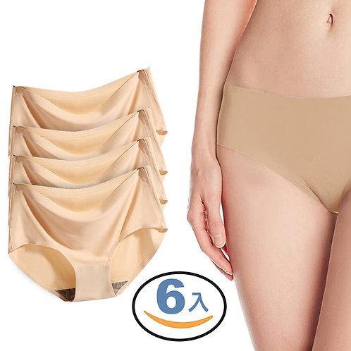 冰絲翹臀女用無痕內褲 膚色 6入組 三角褲