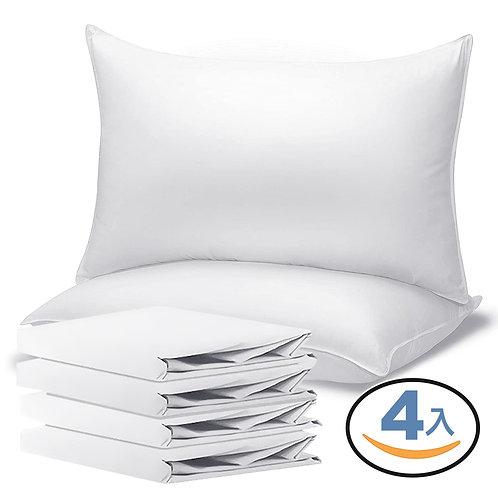 五星飯店純白枕頭套 4入組