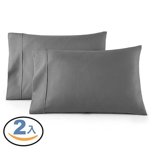 1800針細纖柔膚枕頭套 2入組 雙刷抗皺 灰色