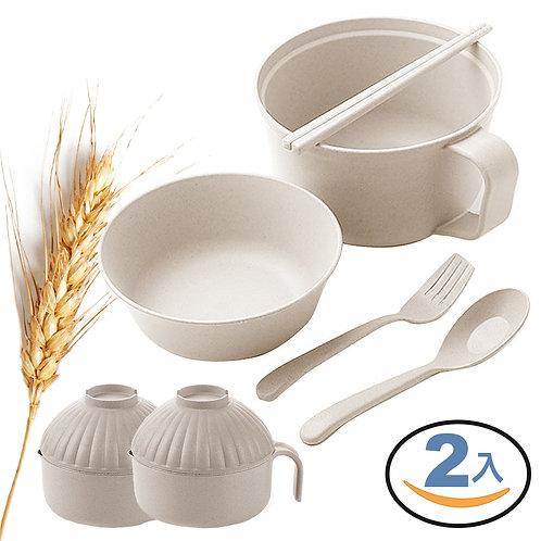 小麥秸稈泡麵碗 1000mL 附贈環保餐具 2入組