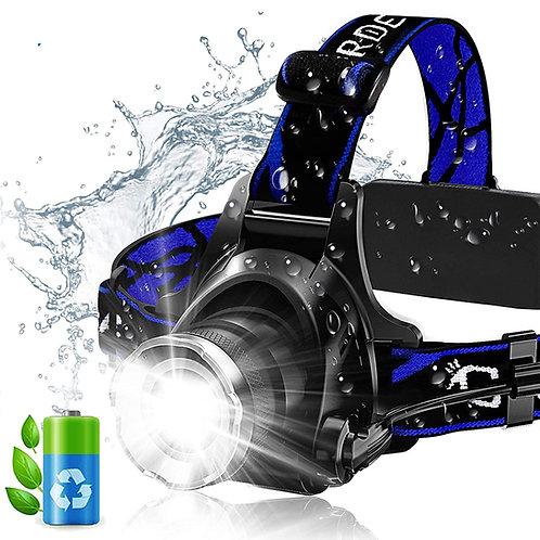 T6強光可調焦防水頭燈 含電池+充電器