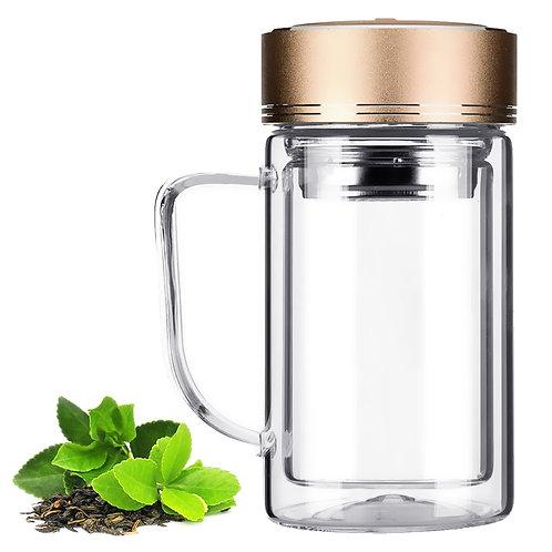 加厚雙層玻璃泡茶杯380mL 附濾茶器 2入組 辦公杯 玻璃杯