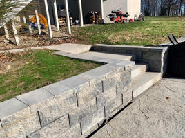Retaining walls, steps, walkway and patio