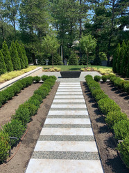 Paver walkway, fountain and landscaping