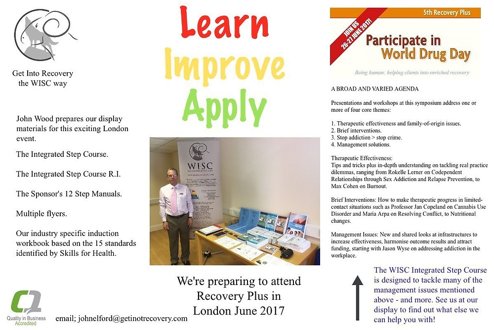 As we move towards the end of June and the Recovery Plus Conference we're putting together our display materials. It might no look like much but on that table there is over a years worth of learning and training.