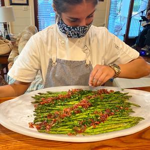 asparagus with crispy country ham and a dijon vinaigrette