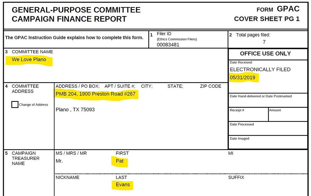 Campaign Finance Report for We Love Plano PAC