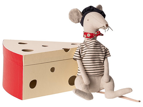 Maileg: French Rat in Cheese Box