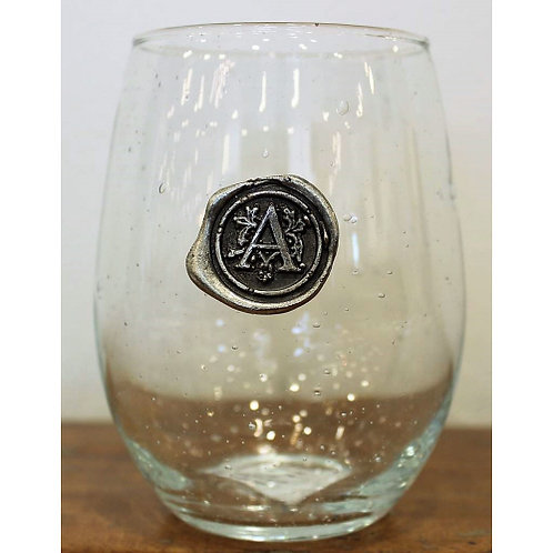 Stemless Wine Glass w/ Pewter Initial