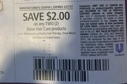 $2.00/2 Dove Hair Care Products Expires 2-27-2021