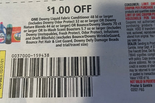 $1.00/1 Downy Liquid Fabric Conditioner 48ld or larger Expires 2-27-2022