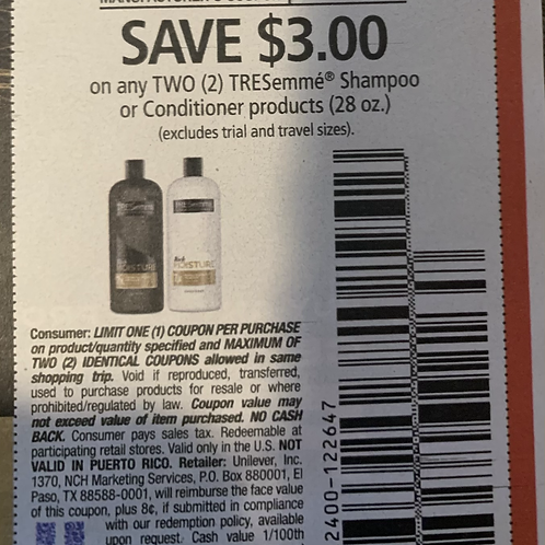 $3.00/2 TRESemme Shampoo or Conditoner Product Expires 2-27-2021
