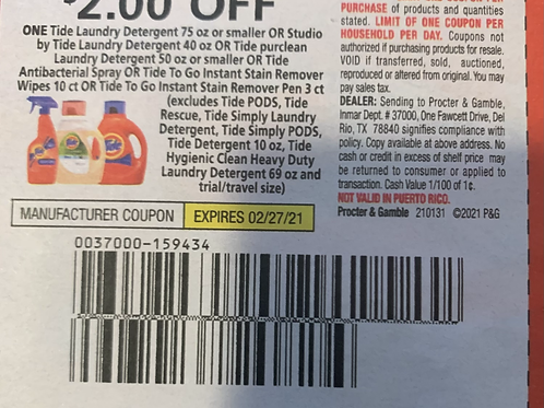 $2.00/1 Tide Laundry Detergent 75 oz or smaller Expires 2-27-2021