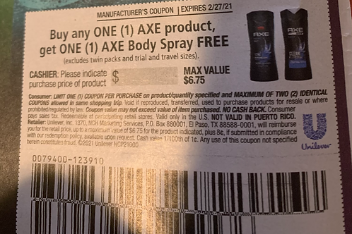 Buy One Axe Product Get Body Spray Free up to $6.75 Expries 2-27-2021