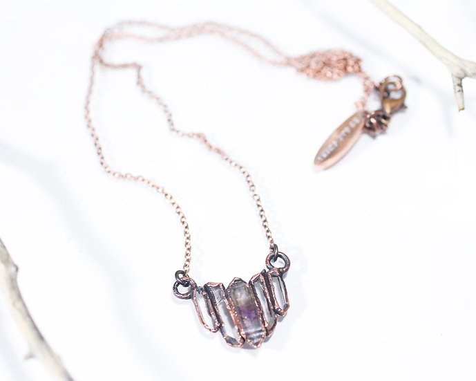 Zoned Amethyst and Quartz necklace
