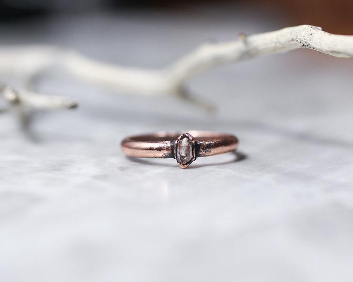 Tiny Herkimer Diamond ring