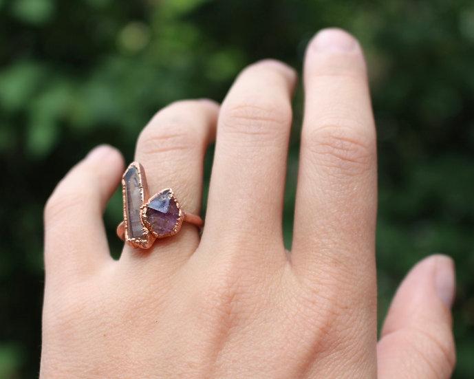 Smoky Quartz and Amethyst ring