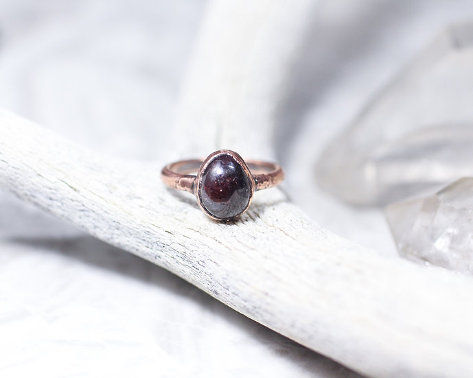 Hand polished garnet ring