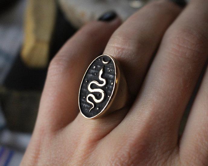 Cosmic snake ring Brass