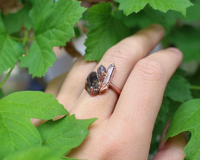 Smoky Quartz, Clear Quartz and Amethyst ring