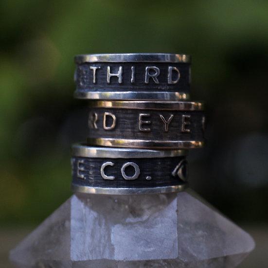 Unisex Third Eye text ring