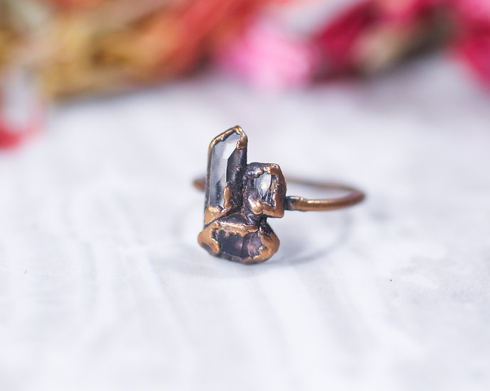 Quartz, Amethyst, Topaz mixed stone ring