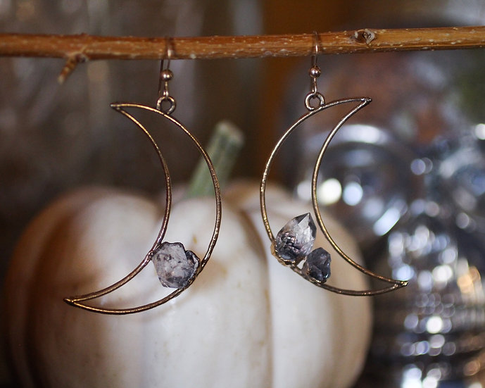 Large Crescent moon Herkimer Diamond earrings
