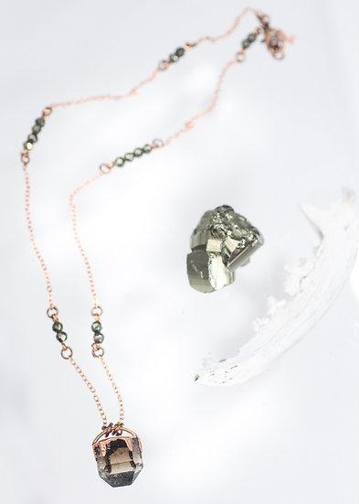 Smoky Quartz and Pyrite bead necklace