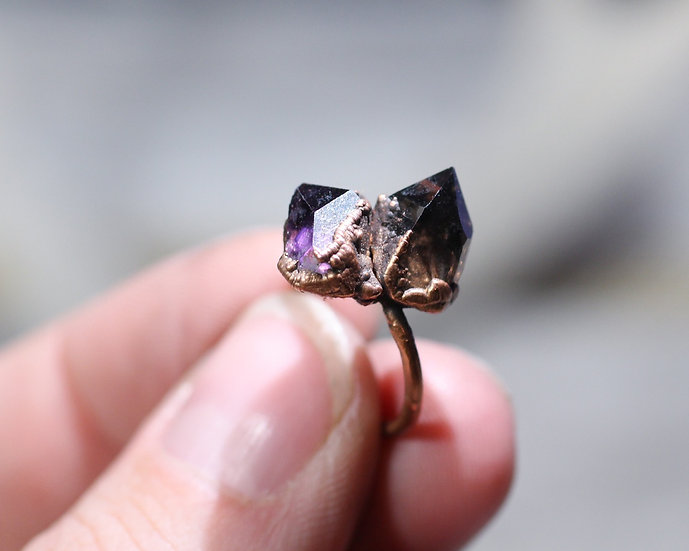 Smoky Quartz - Amethyst ring