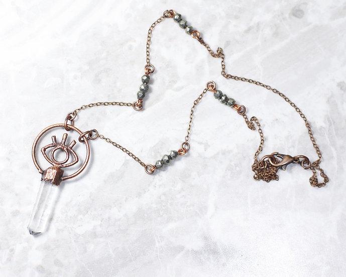 Quartz and pyrite bead Third Eye necklace