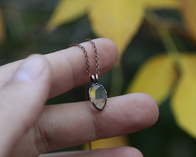 Tiny Herkimer Diamond raindrop necklace
