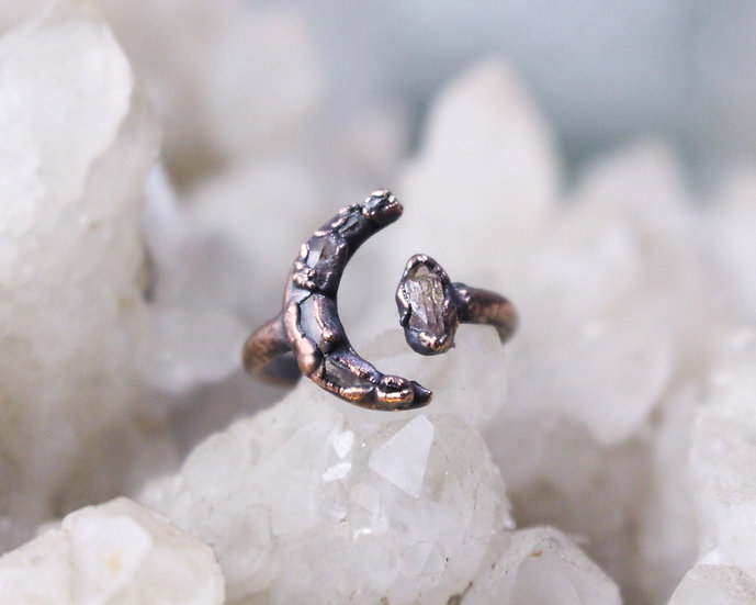 Tiny Topaz open moon ring