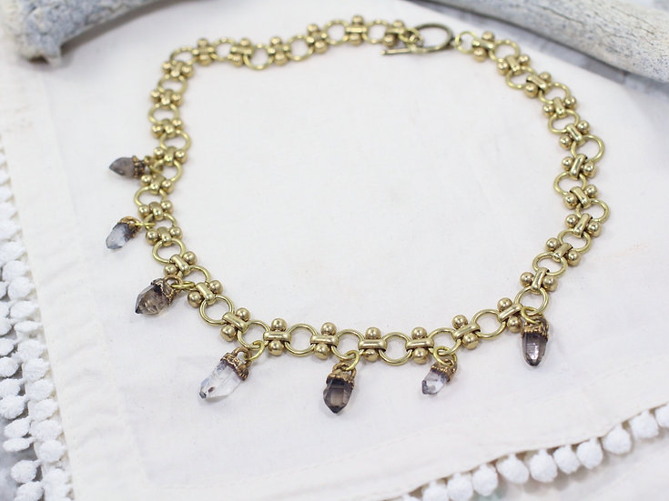 Smoky and Clear Quartz charm necklace