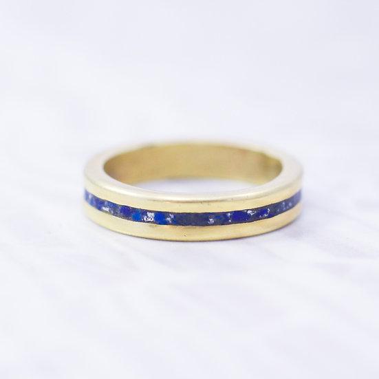 Inlaid Lapis Brass ring