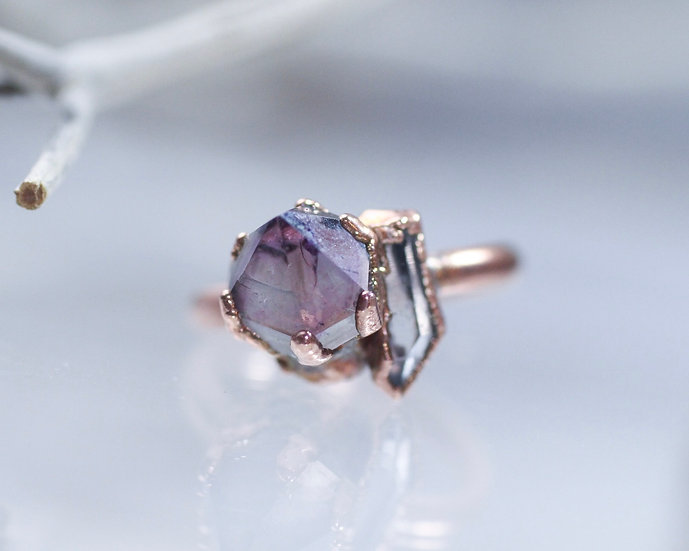 Amethyst and Quartz ring