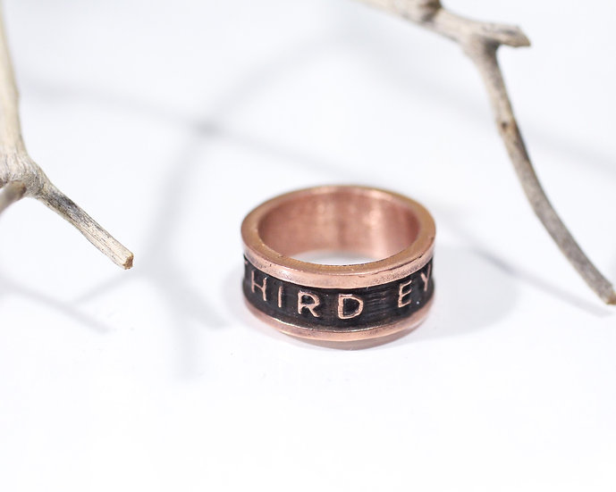 Third Eye Co. text ring - Copper