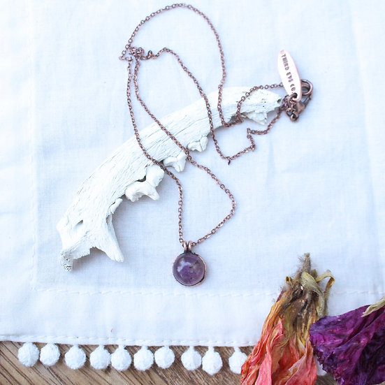Tiny polished Amethyst necklace
