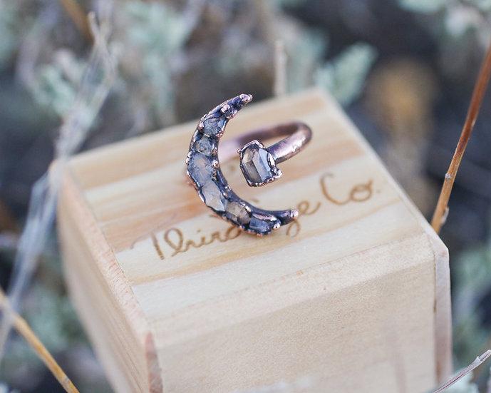 Topaz open style Moon ring