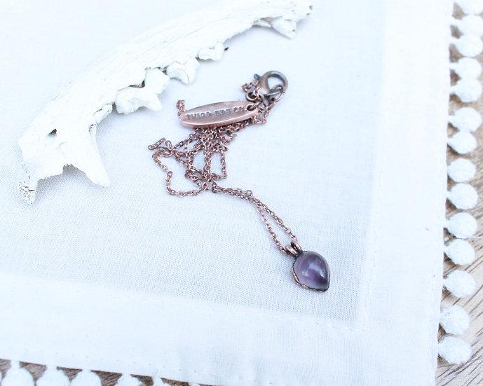 Tiny raindrop Amethyst necklace