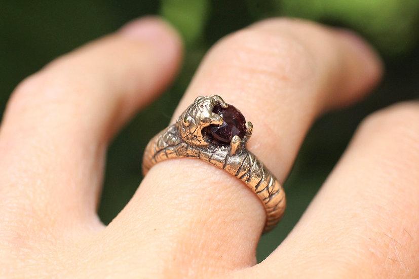 Custom Faceted Garnet Snake ring