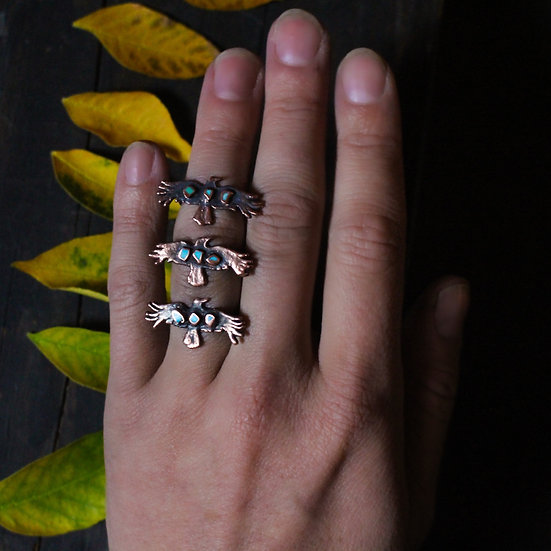 Tiny Turquoise crow rings