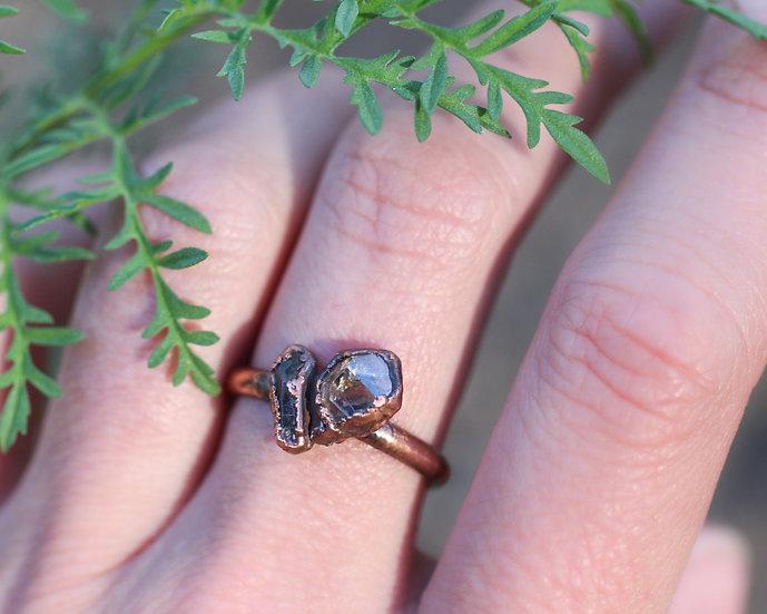Herkimer Diamond and Quartz ring
